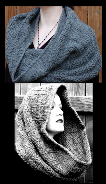 Me modeling the different ways to wear this cowl.